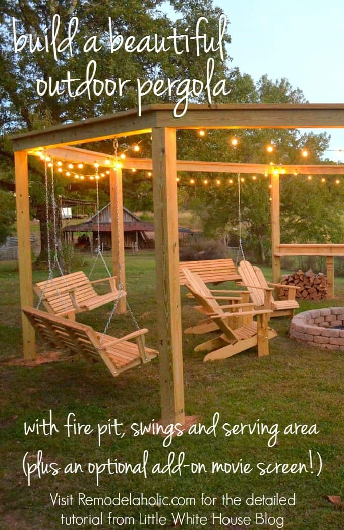 how to build an outdoor pergola firepit and swings. Black Bedroom Furniture Sets. Home Design Ideas