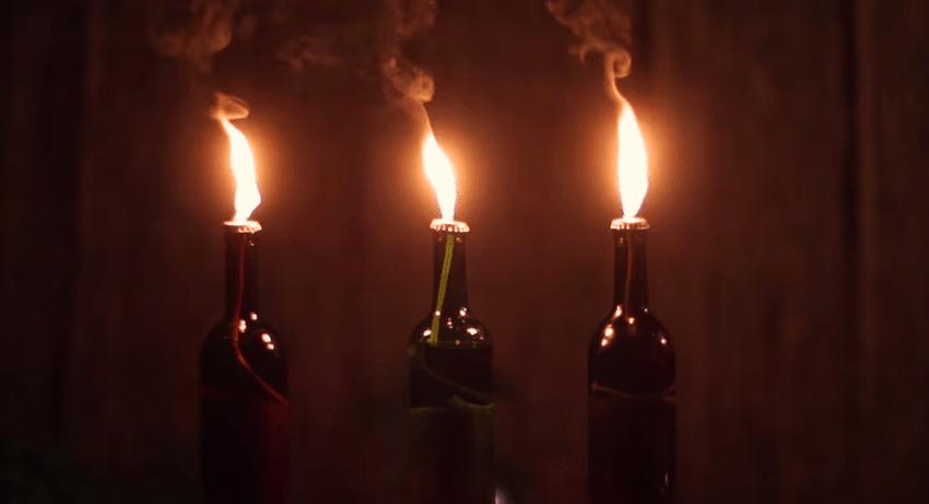 How to make wine bottle tiki torches for Wine bottle night light diy