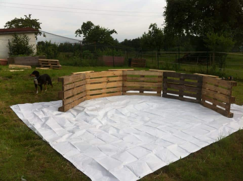 Using Just Nine Wooden Palettes, Some Nails, A Tarp, And Some Ingenuity,  You As Well Could Have Your Own Homemade Pool.