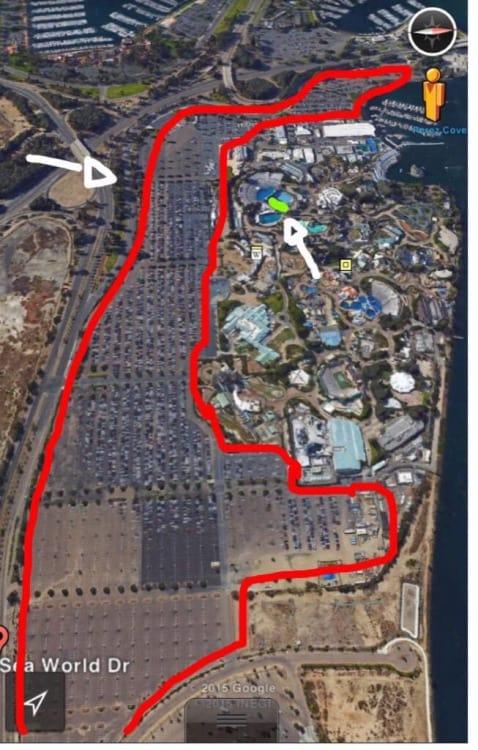 sea world parking lot