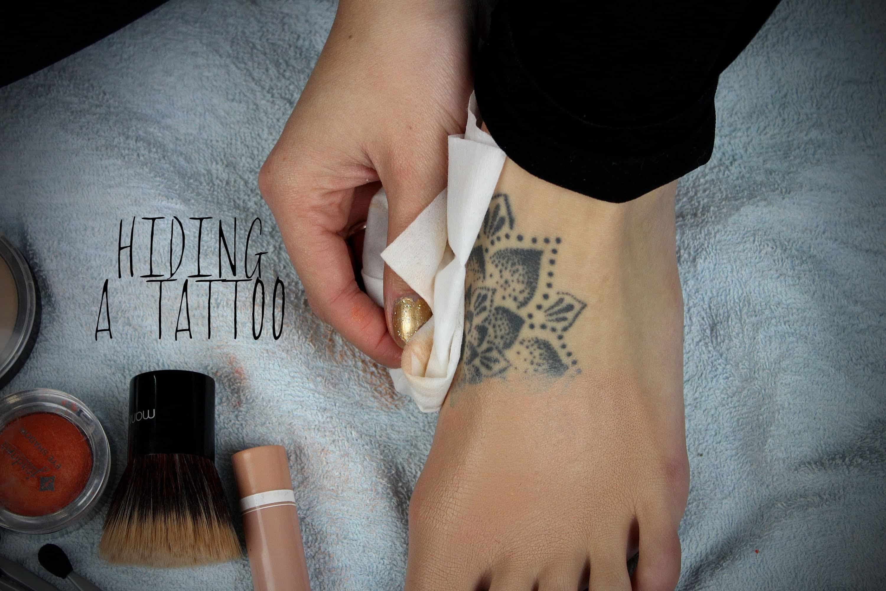 How to cover up a tattoo with simple drugstore makeup for How to cover tattoos