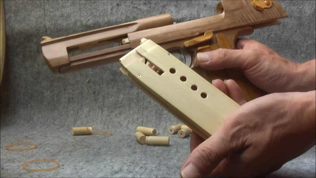 Desert Eagle Rubber Band Gun Made From Wood With Ejector