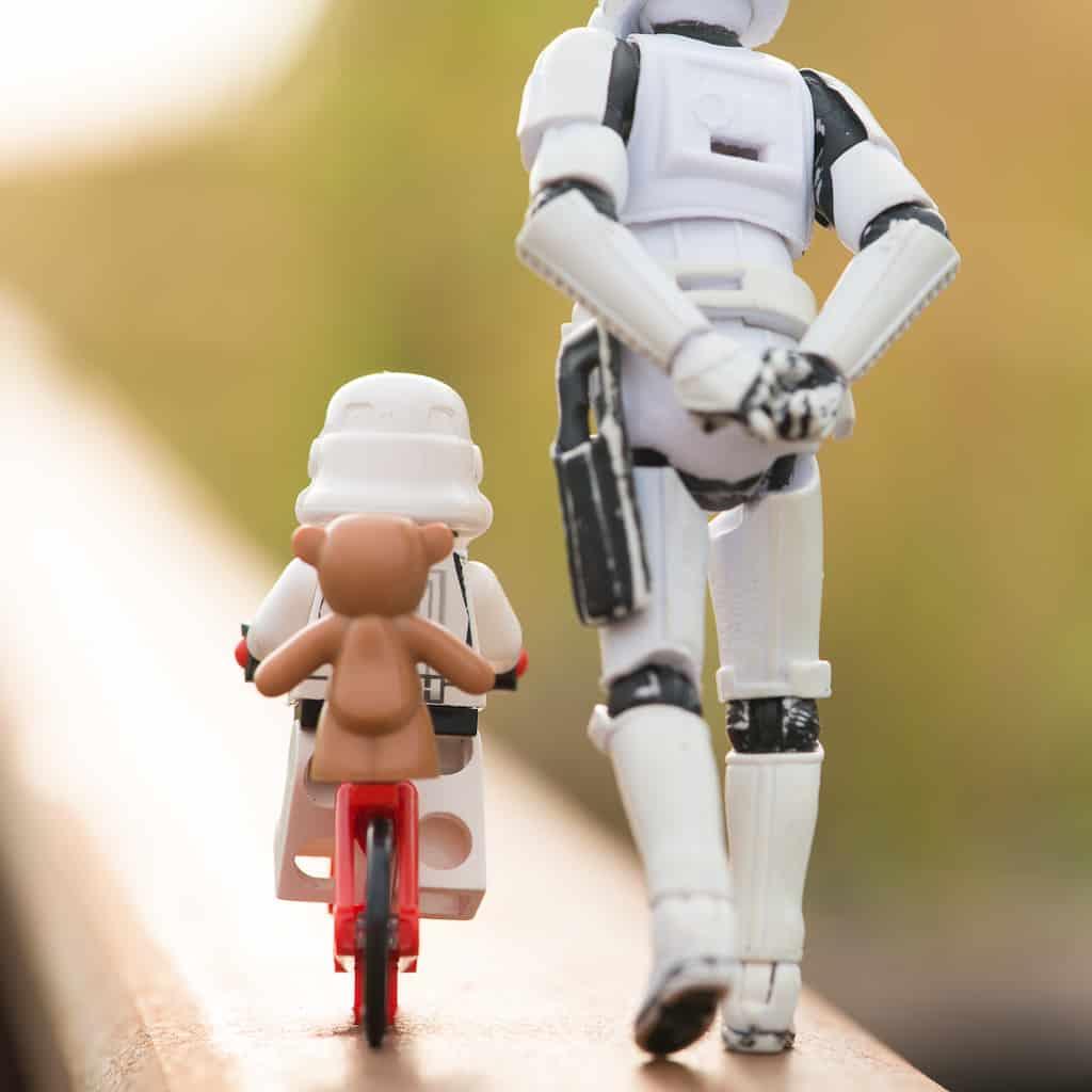 Teddy is biking