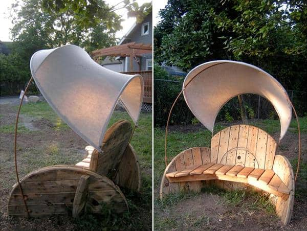27 fantastic diy ways to repurpose an old wooden wire spool. Black Bedroom Furniture Sets. Home Design Ideas