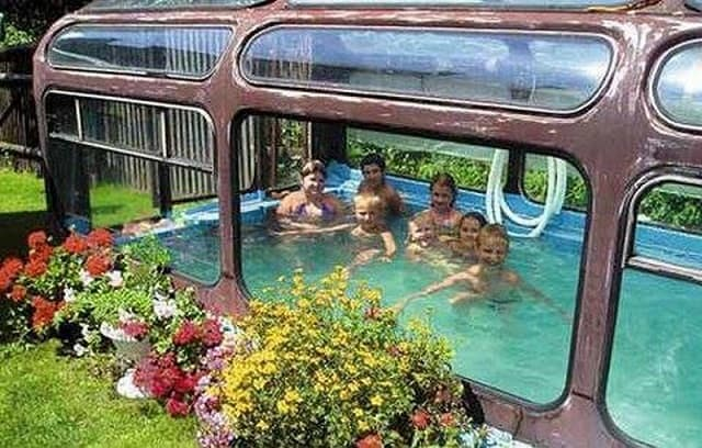 the indoor recycled bus pool - Crazy Swimming Pools