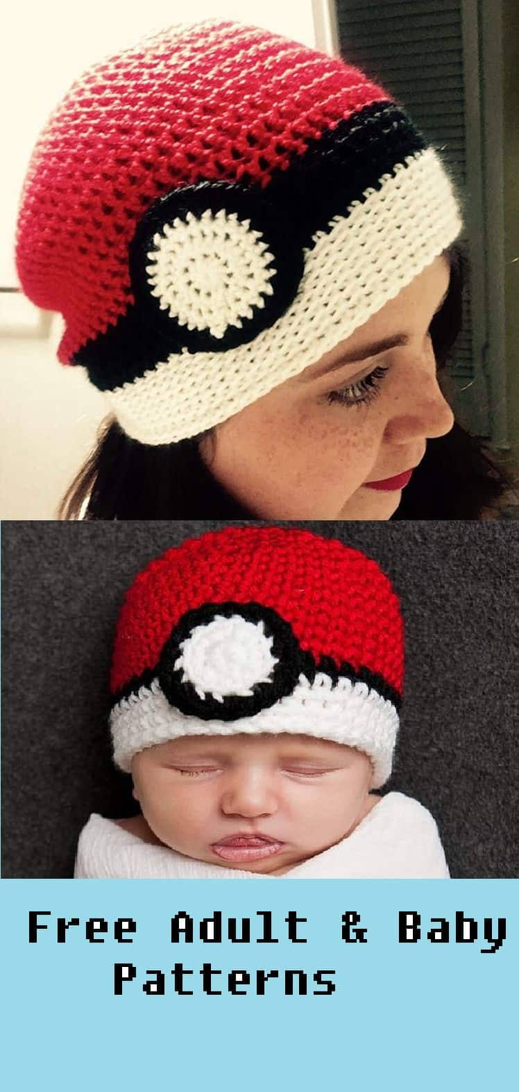 The Ultimate Crochet Pokemon Ball Beanie Hat - Adult & Baby Pattern ...