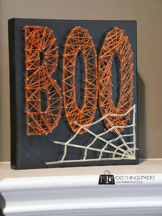 16 awesome string art ideas for fall and halloween season. Black Bedroom Furniture Sets. Home Design Ideas