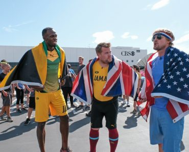 """James Corden can nail a carpool karaoke, but pound the pavement? Not so much. That was pretty obvious when """"The Late Late Show"""" host challenged Usain Bolt, aka the world's fastest man, to a 100-meter race in a studio parking lot."""