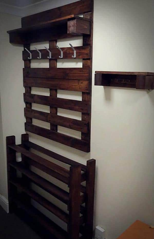 A Hallway Pallet Coat Rack And Shoe Rack That Is Both Good