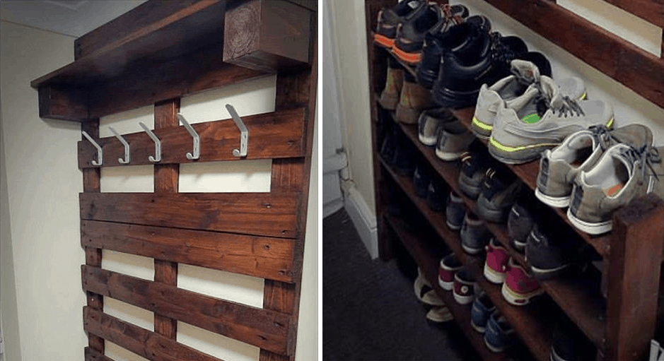 A Hallway Pallet Coat Rack And Shoe That Is Both Good Looking Functional O AwesomeJelly