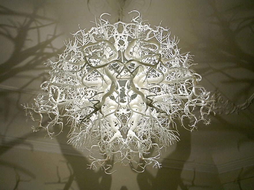 Chandelier turns your bedroom into a creepy forest awesomejelly forestlight2 mozeypictures Gallery