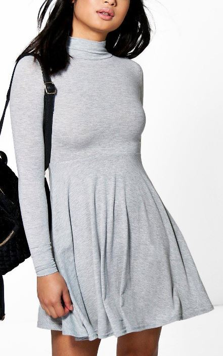 grey-high-neck-dress