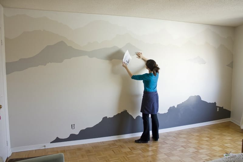 The mountain mural bedroom makeover that you can do for Diy mountain mural