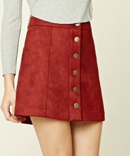 red-buttoned-suede-skirt