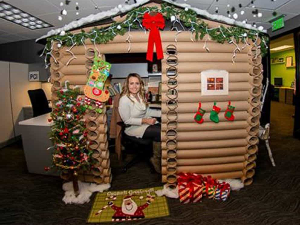 Festive office workers turn their cubicles into winter for Decorating your house for christmas