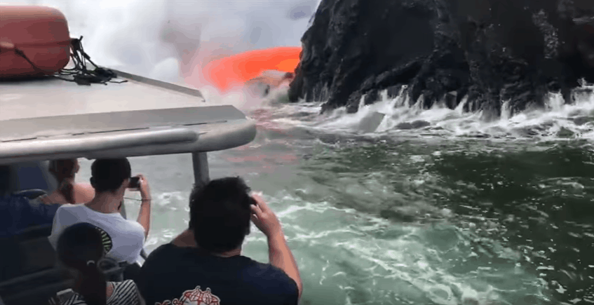 Molten Lava Shoots Into The Ocean Right In Front Of