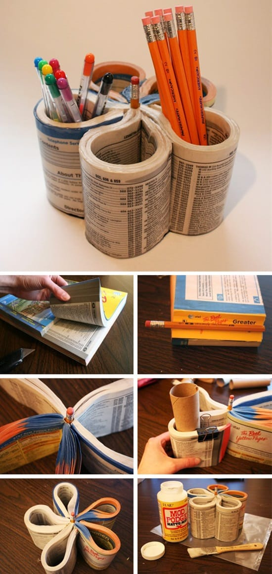 If You Have An Old Phone Book Lying Around That Dont Use Then Here Is Interesting Idea On How To Make A Useful Pencil Holder