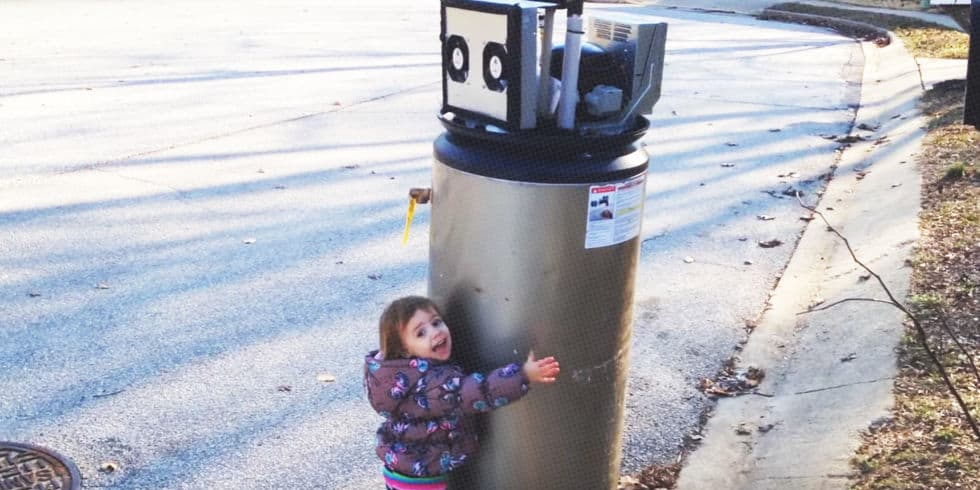 Sweet Little Girl Loving This Water Heater 'Robot' Will ...
