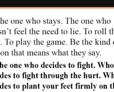 be the one who stays