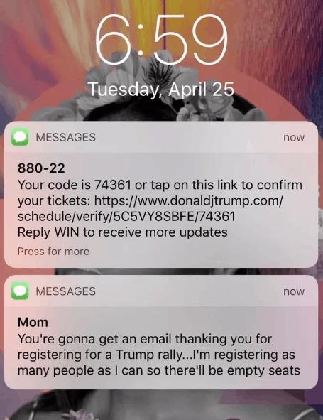 mom scam trump rally