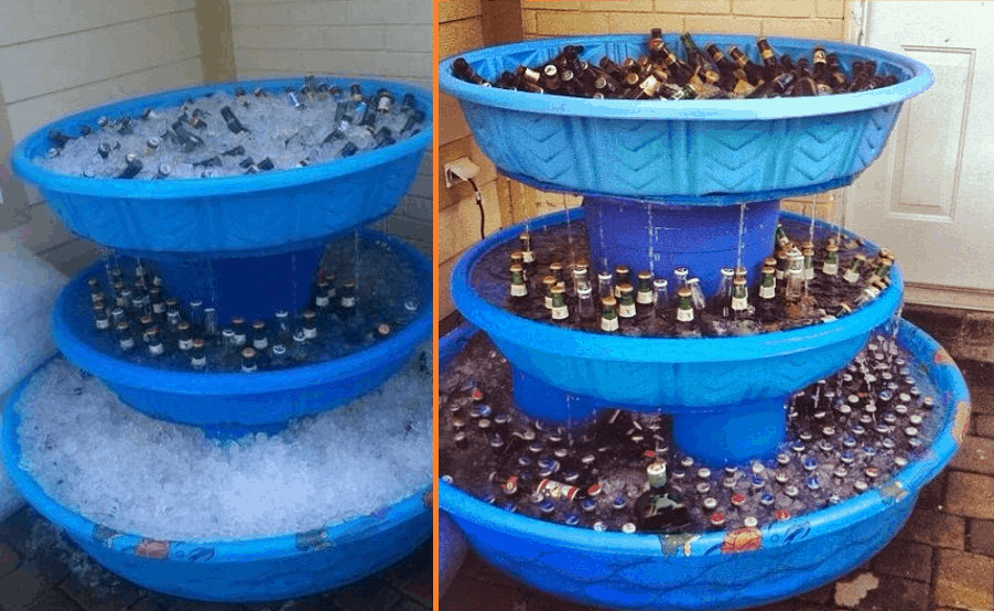 This 3 Level Kiddie Pool Beer Fountain Cooler Is A Must