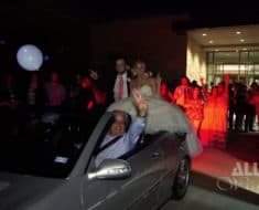 bride groom fall out of car