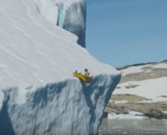 sliding down iceberg