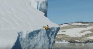 sliding down iceberg