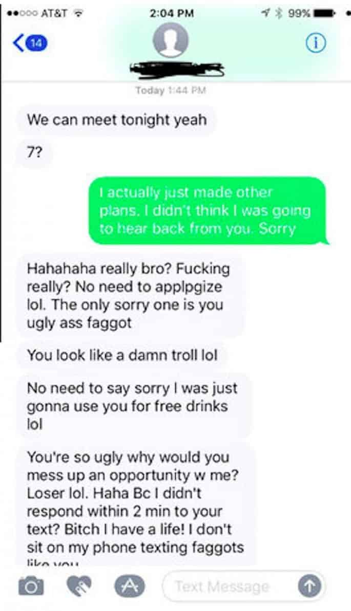 tinder date crazy text message rant