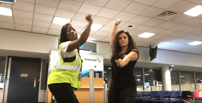 airport dance video