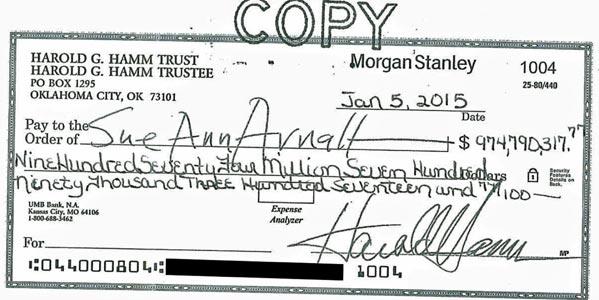 biggest personal check written