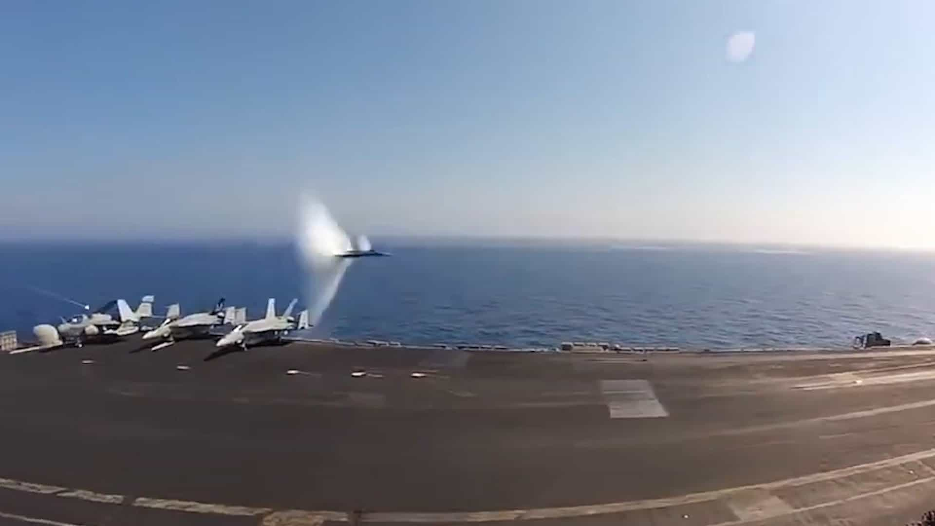Captivating U.S. Navy Jet Breaks Speed Of Sound Flying Past Aircraft Carrier At  Supersonic Speed U2022 AwesomeJelly.com