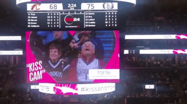 old man kiss cam