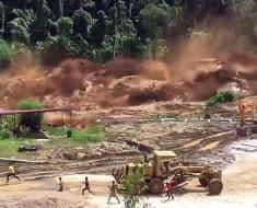 broken dam river flood