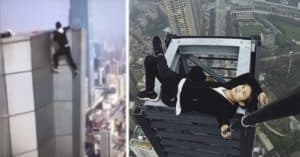daredevil Wu Yongning climbing building fall
