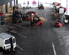 warehouse workers forklifts block thieves