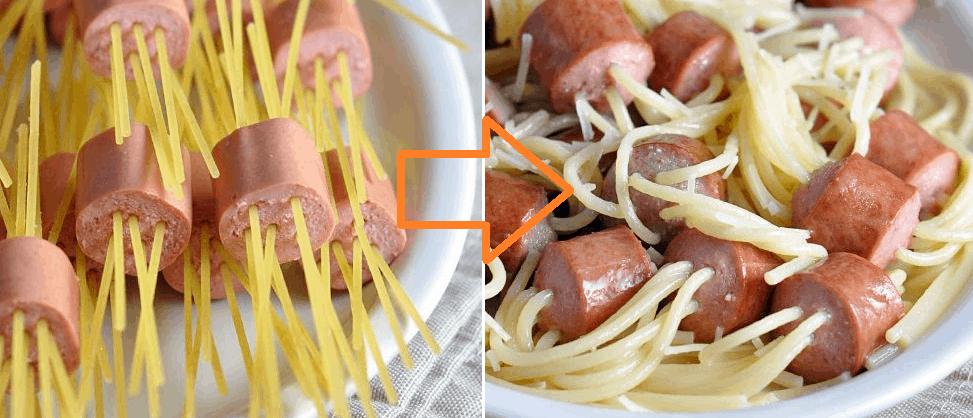 Threaded Spaghetti Hot Dog Bites Recipe