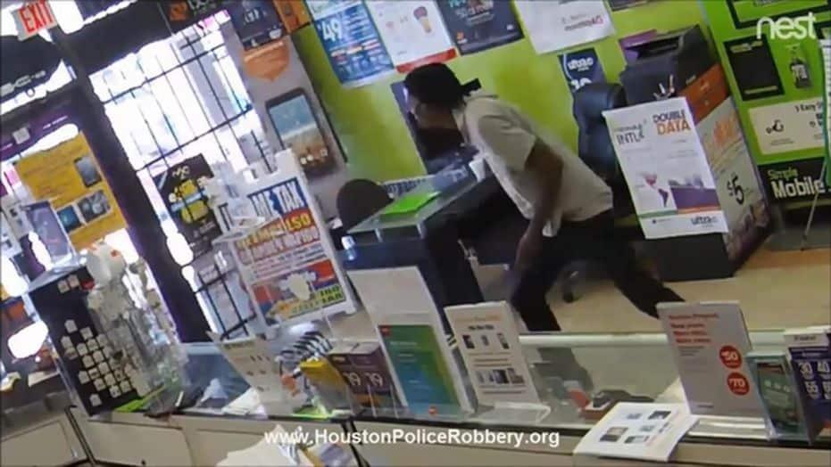 robber locked inside store