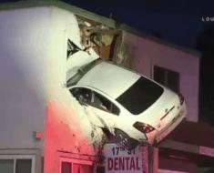 car slams into dentist office