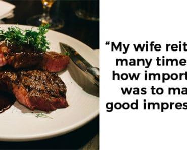 husband wife new boss funny steak