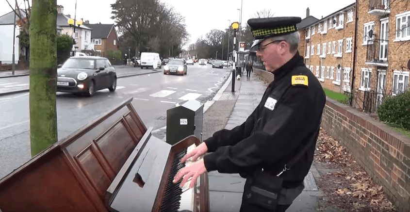 thrown out piano traffic cop