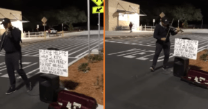 father plays violin outside Walmart