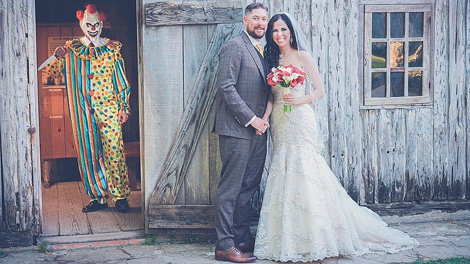clown wedding photo