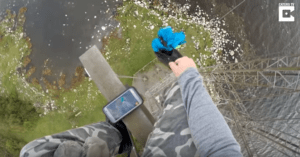 Daredevil Slides Down 260-Foot Pole With No Harness