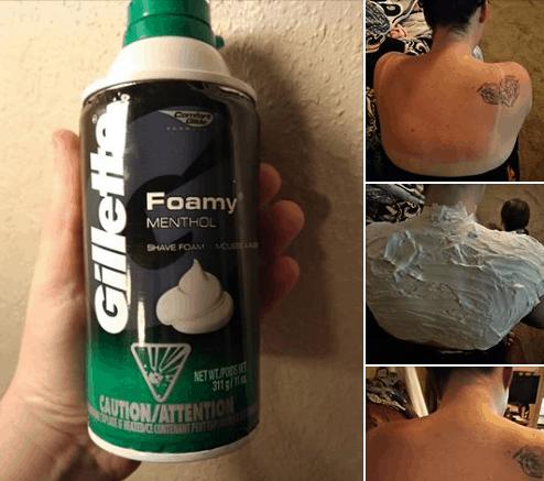 shaving cream sunburn hack